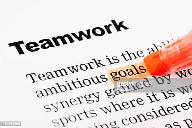 見出しの下の「チームワーク」、「目標がオレンジ色にハイライト表示されている「