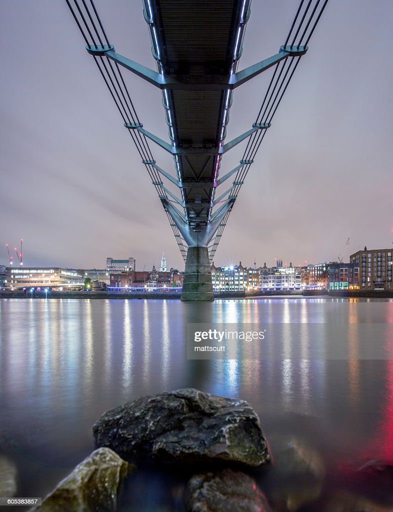Under Millennium Bridge at night, London, England, UK : Stock Photo