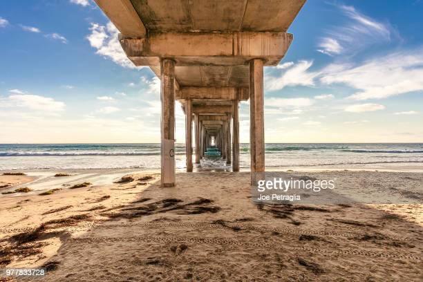 under pier, la jolly, san diego, california, usa - la jolla stock pictures, royalty-free photos & images