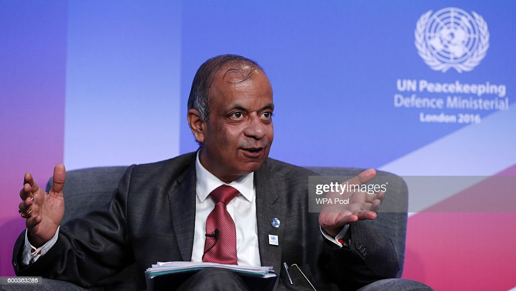 UN Under Secretary General for Field Support Atul Khare speaks during 'Improving Peacekeeping - Rapid Deployment' during the UN Peacekeeping Defence Ministerial at Lancaster House on September 8, 2016 in London, England.