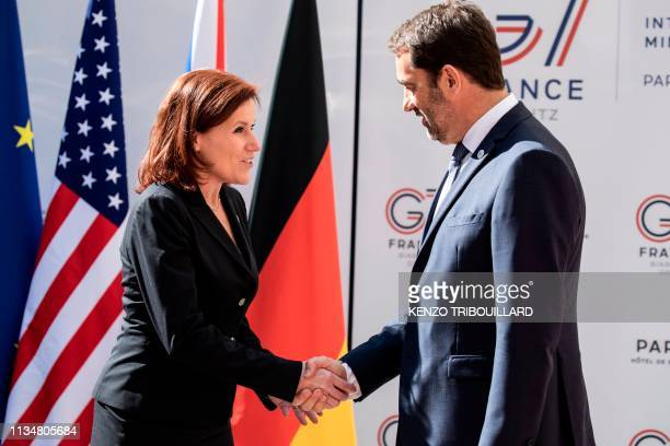 US under Secretary of Homeland Security Claire Grady shakes hands with French Interior Minister Christophe Castaner as she arrives for a meeting at...