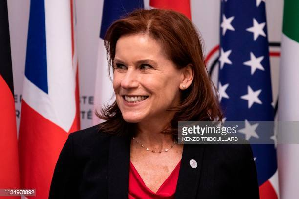 US under Secretary of Homeland Security Claire Grady speaks during a press conference at the Ministry of Interior Place Beauvau in Paris on April 5...