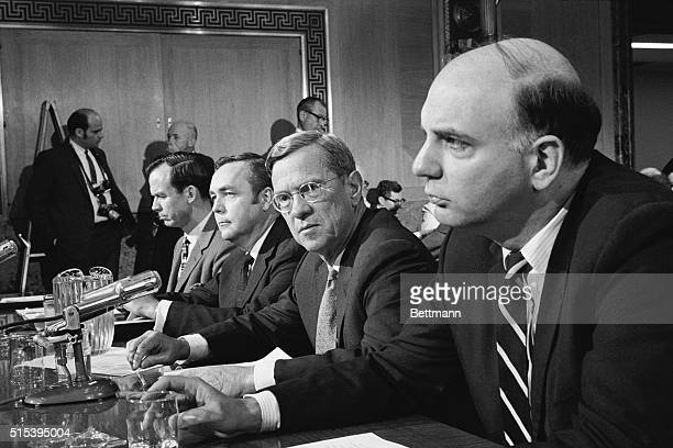 Under Secretary of Treasury Paul Volcker appears before the Senate Banking subcommittee to testify against a bill to regulate maximum interest rates...