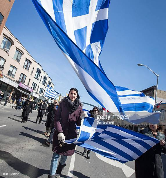 TORONTO ON MARCH 29 Under sunny skies but gusty wind the Greek Independence Day parade made its way along Danforth Ave to Broadview Ave