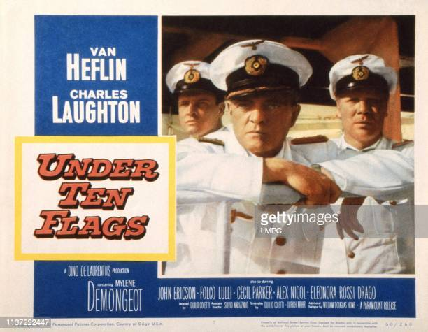 Under Ten Flags US lobbycard from left John Ericson Van Heflin Peter Carsten 1960