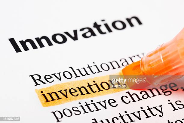 """Under the heading """"Innovation"""", """"invention"""" is highlighted in orange"""