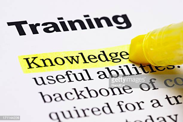 under the heading 'training', 'knowledge' is highlighted in yellow - handbook stock photos and pictures