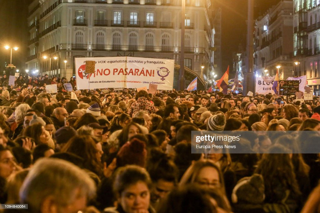 Concentration Of Feminists Groups Against VOX's Postulates : News Photo