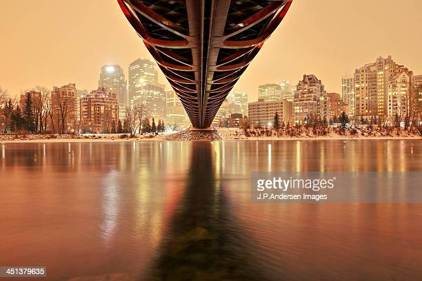 under the peace bridge, calgary - calgary stock pictures, royalty-free photos & images