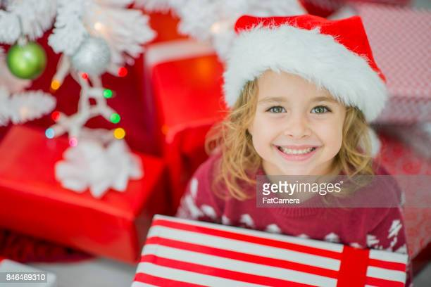 under the tree - santa hat stock pictures, royalty-free photos & images