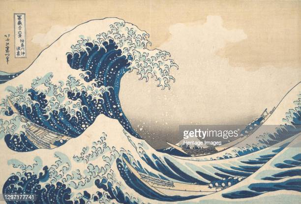 Under the Wave off Kanagawa , or The Great Wave, from the series Thirty-six Views of Mount Fuji , circa 1830-32. Artist Hokusai.