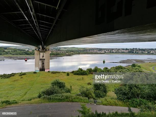 under view of foyle bridge over river - river foyle stock pictures, royalty-free photos & images