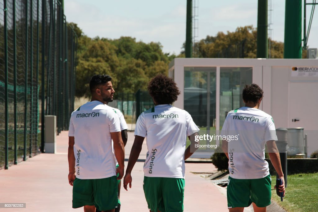 Under-18s soccer players walk between training sessions at the Sporting Clube de Portugal (SCP) sporting academy in Lisbon, Portugal, on Friday, April 28, 2017. Portuguese teams breed athletes for the most lucrative leagues in the worlds richest sport and it gives the nation of 10 million with limited domestic income from television rights and merchandising a slice of global soccers riches. Photographer: Henrique Almeida/Bloomberg via Getty Images