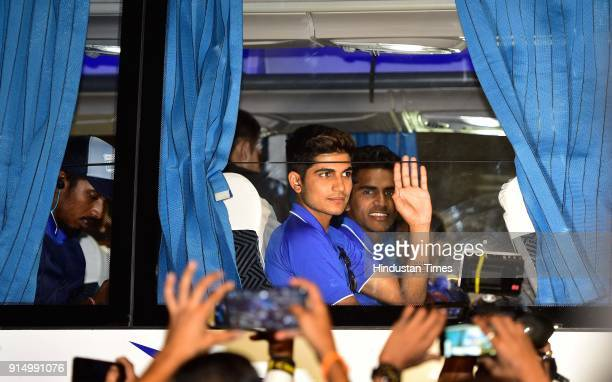 Under19 cricket Player Shubman Gill arrives at the airport after winning the Under19 Cricket World Cup against Australia on February 5 2018 in Mumbai...