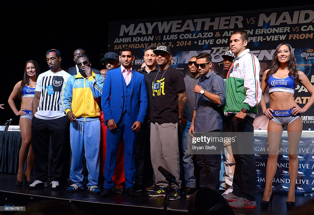Undercard boxers J'Leon Love, Adrien Broner, Amir Khan, Luis Collazo, Carlos Molina and Marco Periban pose onstage after the undercard final press conference at the MGM Grand Hotel/Casino on May 1, 2014 in Las Vegas, Nevada.