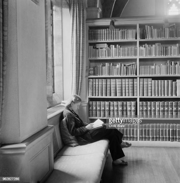 Undergraduate student BE Stone studying in the library at Girton College Cambridge October 1948 The women's college was given full college status by...
