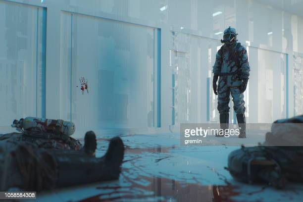 underground bunker laboratory and zombie outbreak - hazmat stock pictures, royalty-free photos & images