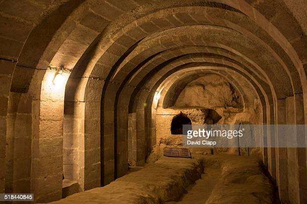 underground city, derinkuyu, cappadocia, turkey - dungeon stock photos and pictures