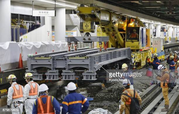 Underground construction for the Chuo Shinkansen maglev line linking Tokyo and Nagoya is under way at Shinagawa station in Tokyo on Nov 25 2017 Its...