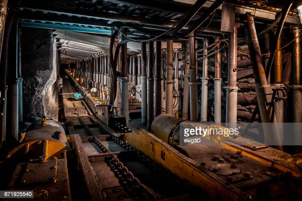 Underground corridor with steel support system in coal mine