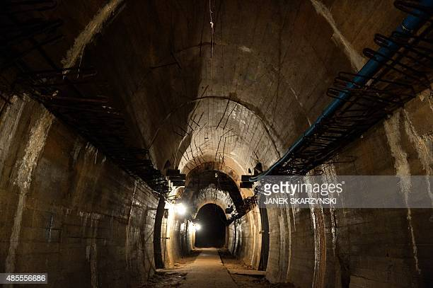 Underground galleries part of Nazi Germany Riese construction project are pictured under the Ksiaz castle in the area where the Nazi gold train is...