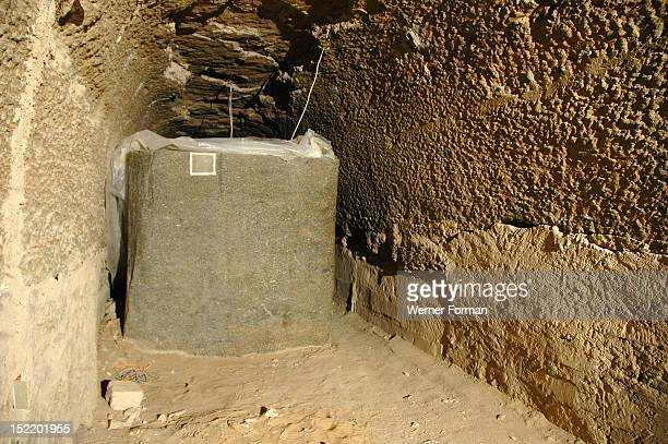Underground gallery with and empty Apis bull sarcophagus from the Serapeum The Serapeum is a system of underground galleries hewn out of solid rock...