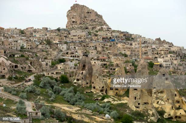 Underground living caves and Fairy Chimneys rock at Uçhisar, Nevşehir Province, Central Anatolia Region, Turkey
