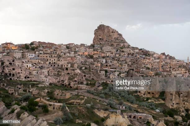 Underground living caves and Fairy Chimneys rock at Uçhisar, Nevşehir Province, Central Anatolia Region, Turkey