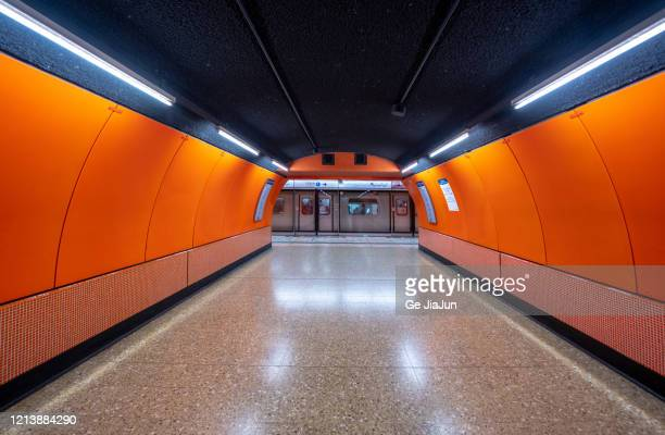 underground metro system - symmetry stock pictures, royalty-free photos & images