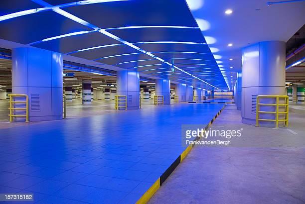 Underground Parking garage with Blue neon light