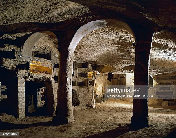 Underground passages of the upper floor of the Catacombs of San Gennaro Naples Campania Italy Early Christian civilisation 2nd5th century