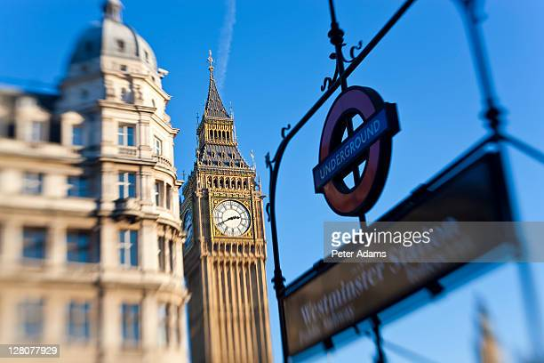 underground sign and big ben, westminster, london, england, uk - peter adams stock pictures, royalty-free photos & images