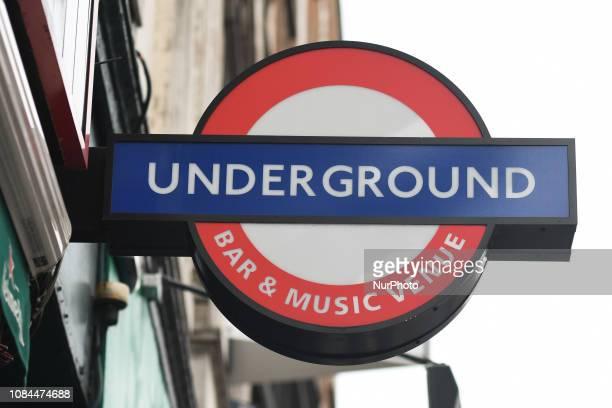 Underground sign at the entrance to a bar in Dublin City Center On Thursday January 17 in Dublin Ireland
