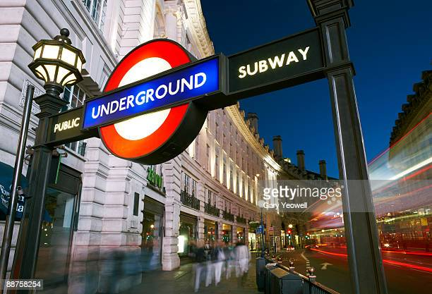 Underground sign in Piccadilly Circus at night