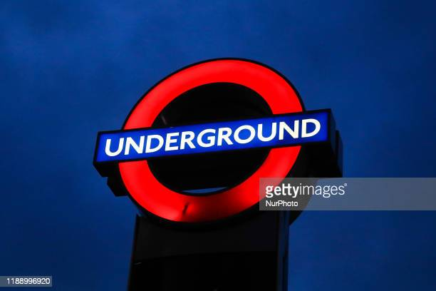 Underground sign is seen in London Great Britain on December 11 2019
