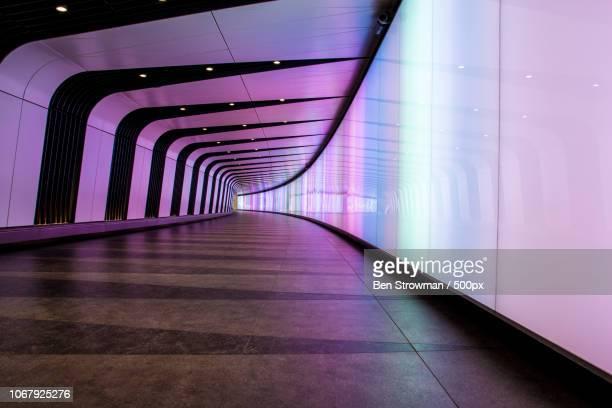 underground tunnel with colorful lights - light natural phenomenon fotografías e imágenes de stock