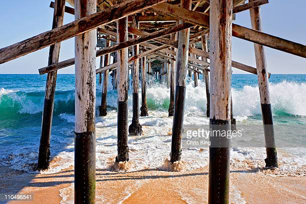 underneath balboa pier, newport beach, c - newport beach stock pictures, royalty-free photos & images