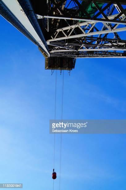 Underneath the Cable Car Tower, Torre Sant Sebastià, Barcelona, Spain