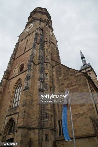 Underneath the tower of the Stiftskirche Church, Stuttgart, Germany