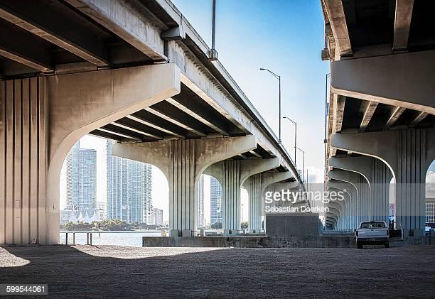 Underneath view of highway bridges
