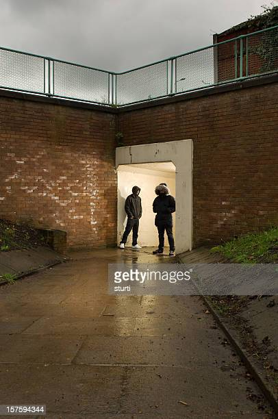 underpass youths - gang stock pictures, royalty-free photos & images