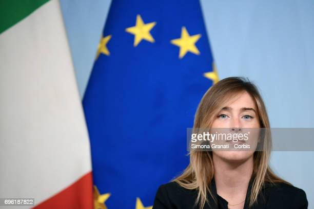 Undersecretary of the Presidency of the Council Maria Elena Boschi presents the Agile Work Directive during a press conference at Palazzo Chigi on...