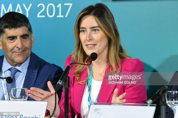 Undersecretary to the Presidency of the Council Maria Elena Boschi gives a press conference on the G7 at the hotel San Domenico in Taormina on May 22...