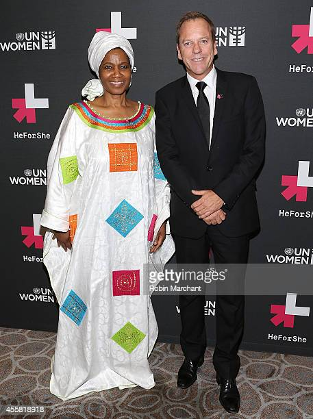 UnderSecretaryGeneral and Executive Director of UN Women Phumzile MlamboNgcuka and Kiefer Sutherland attend UN Women's 'HeForShe' VIP After Party at...