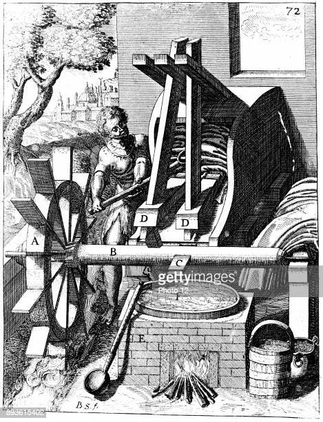 Undershot water wheel powering a fulling mill Tappets C on shaft B raise and lower mallets DD which pound the woollen cloth From Georg Andreas...