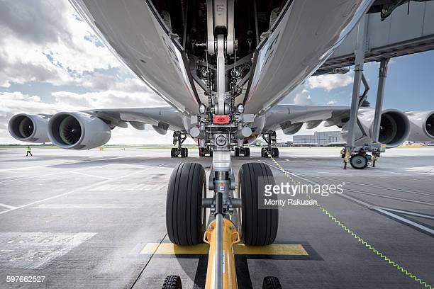 Underside view of A380 aircraft about to taxi