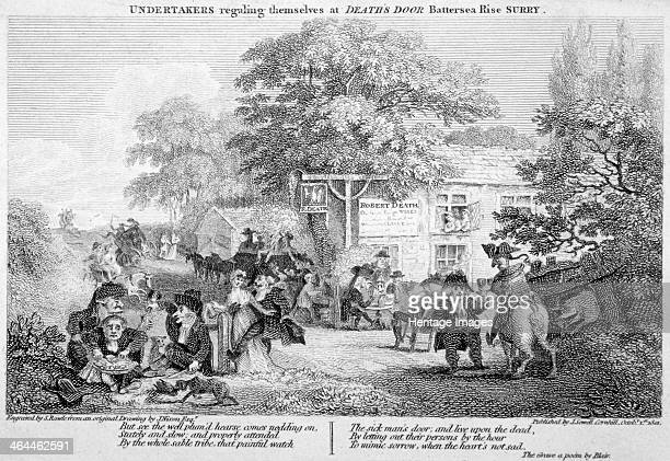 'Undertakers regaling themselves at Death's Door' Battersea London 1801 Print depicting the undertakers eating drinking and making merry outside...