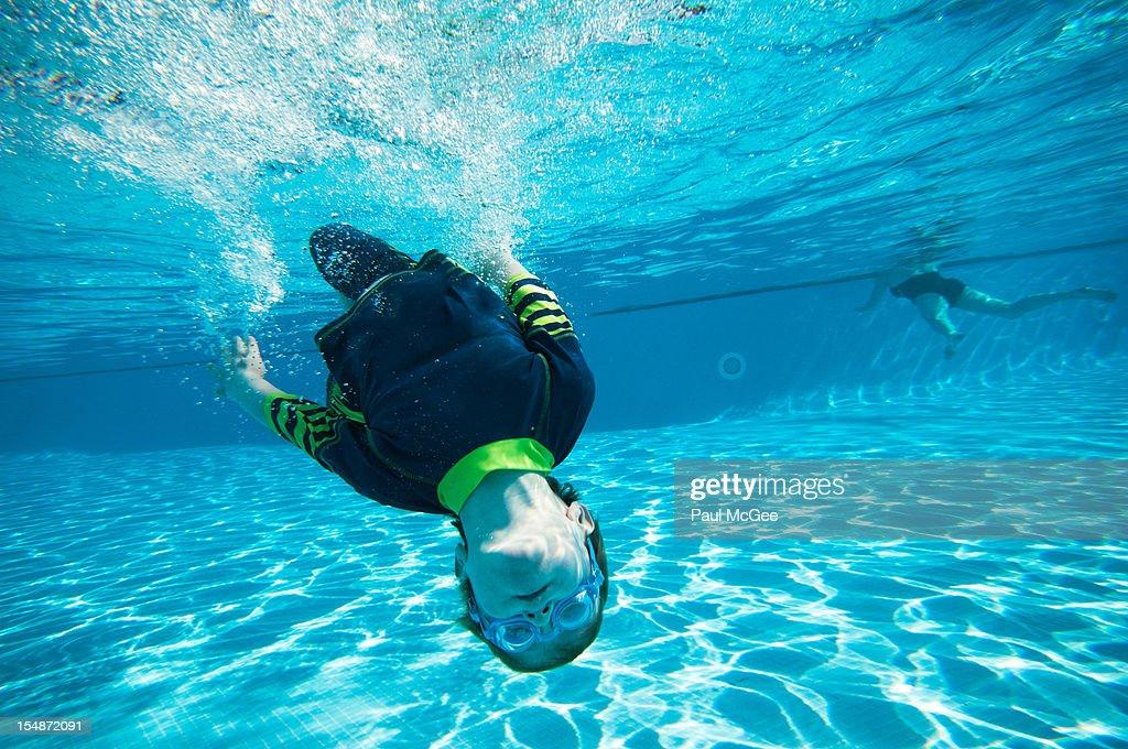 Underwater back flip : Stock Photo