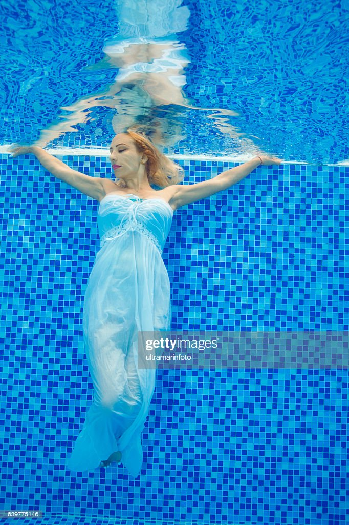 Underwater Fashion Pool Party Young Woman Diving At