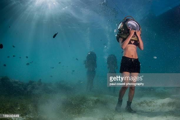 underwater helmet walking - cebu province stock pictures, royalty-free photos & images